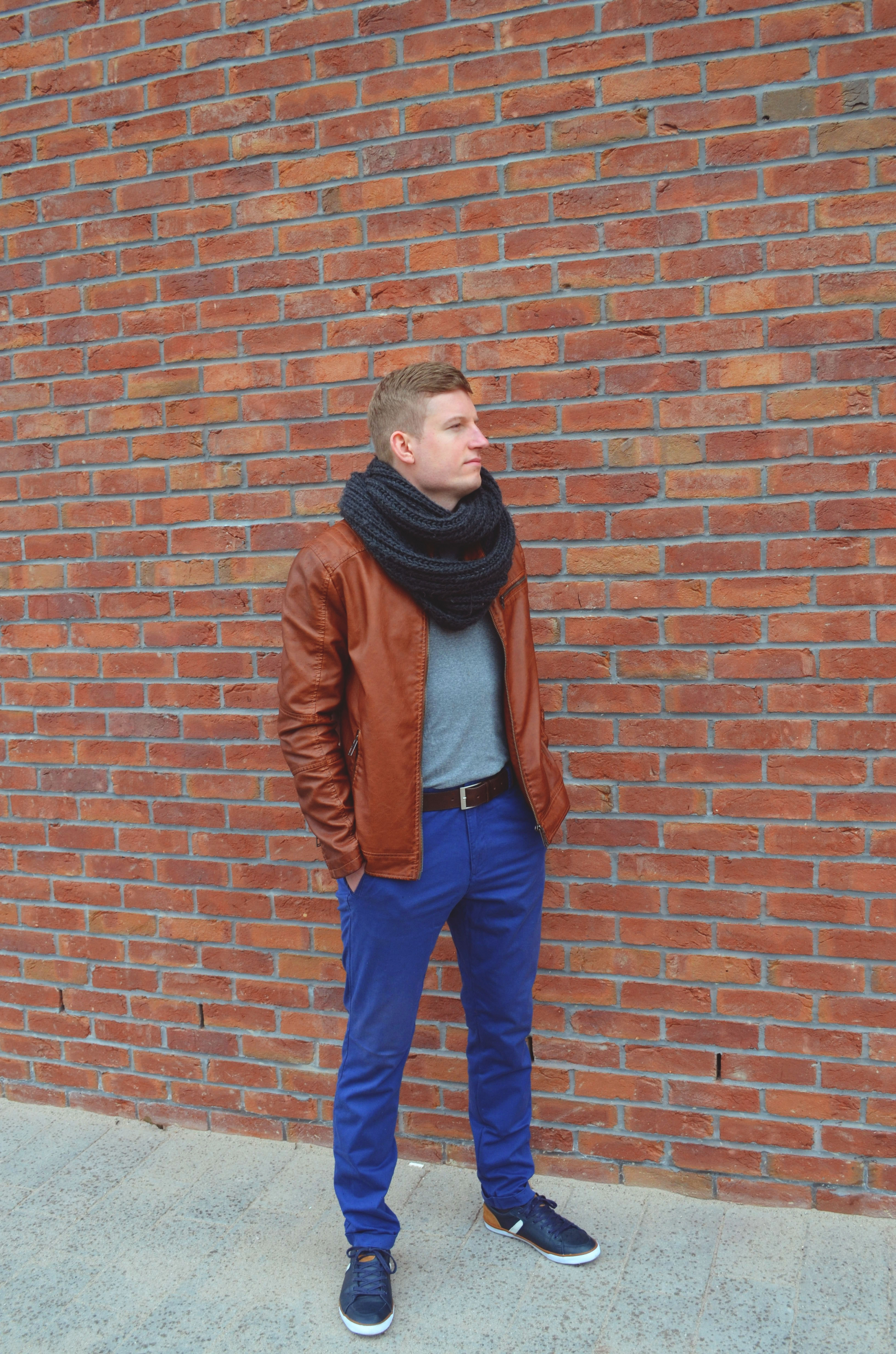 Leather jacket and navy pants!