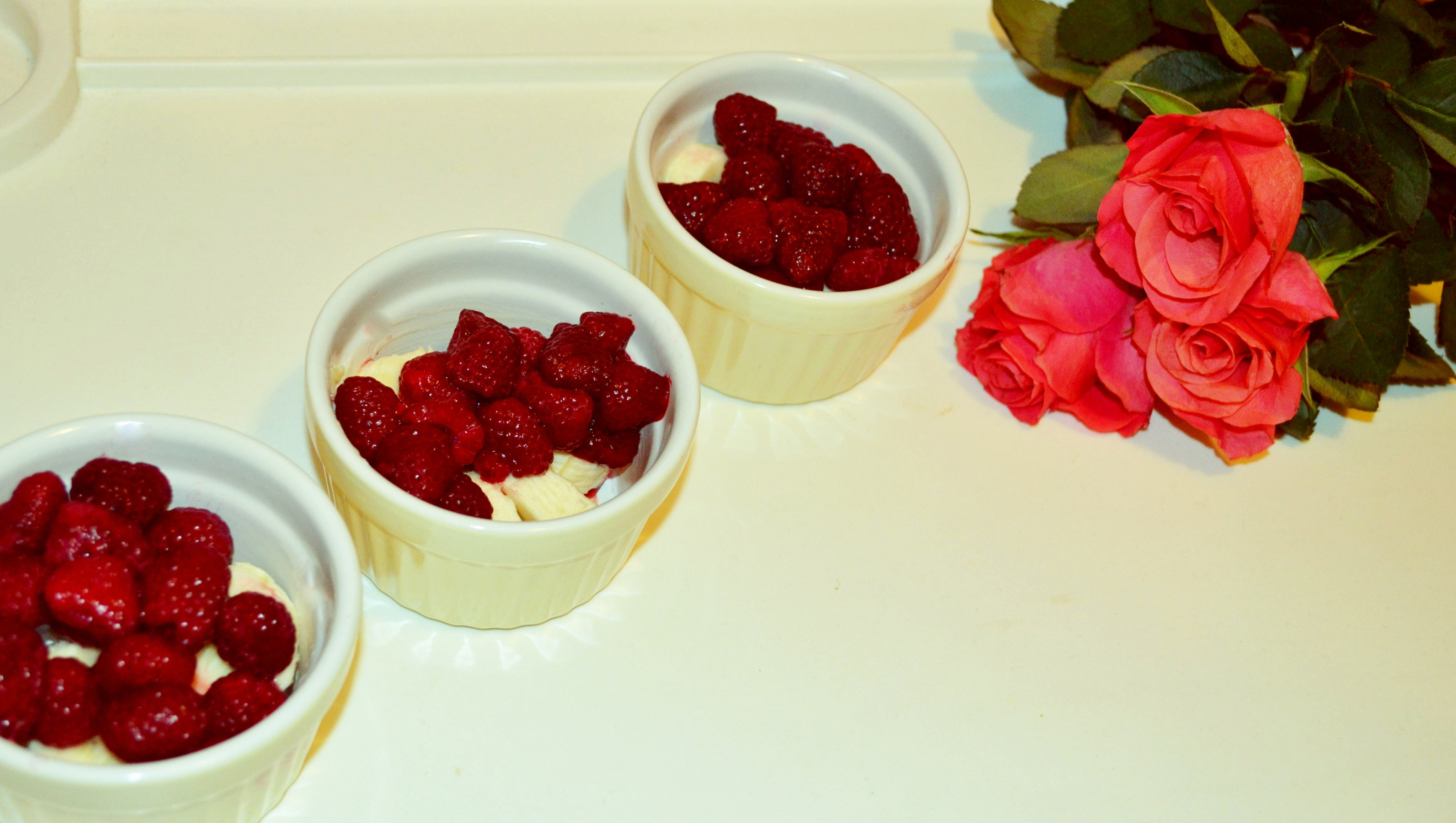 Raspberries and banana crumble with orange ice-cream!