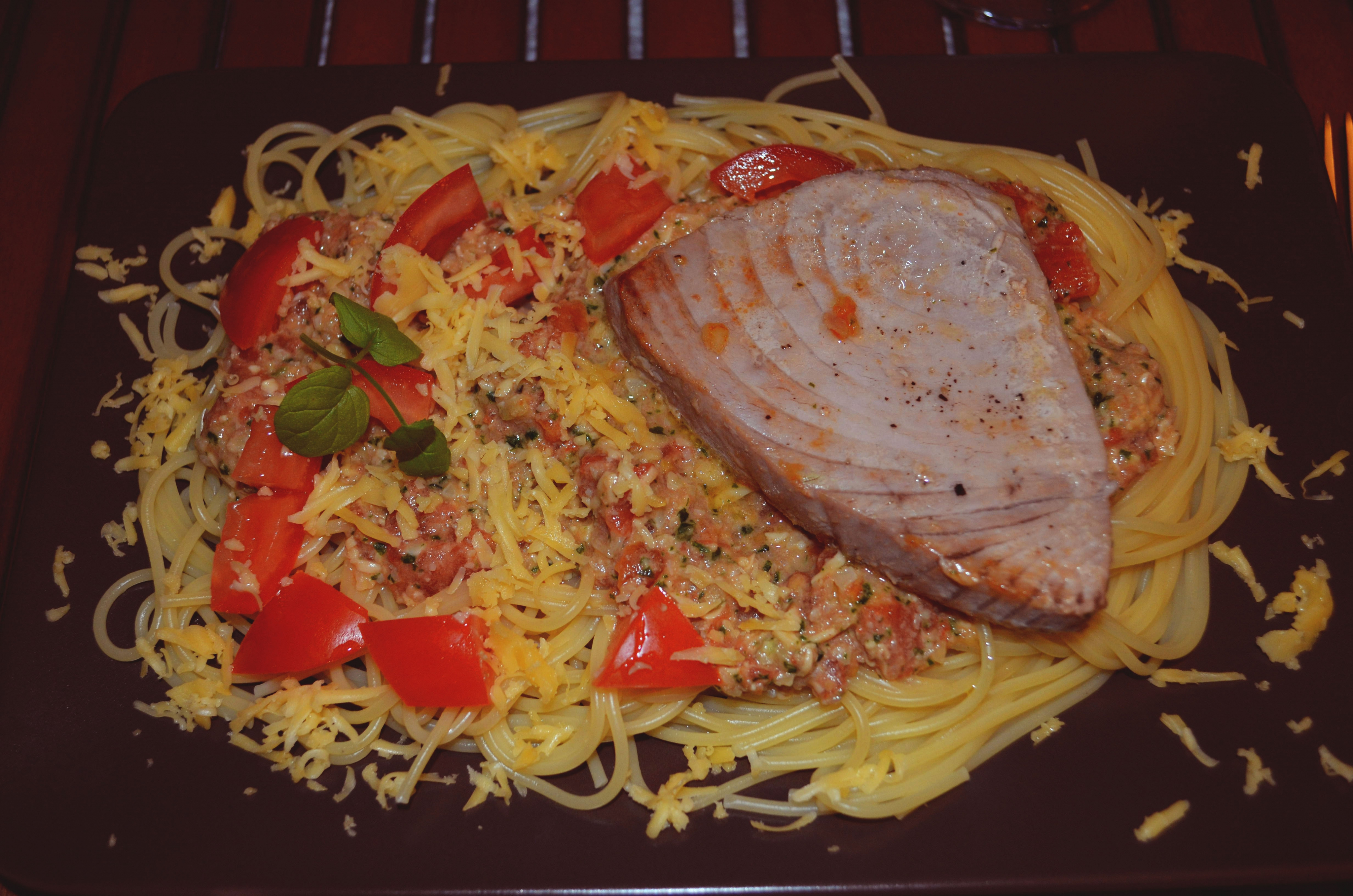 Spaghetti Trapanese with Tuna Steak!
