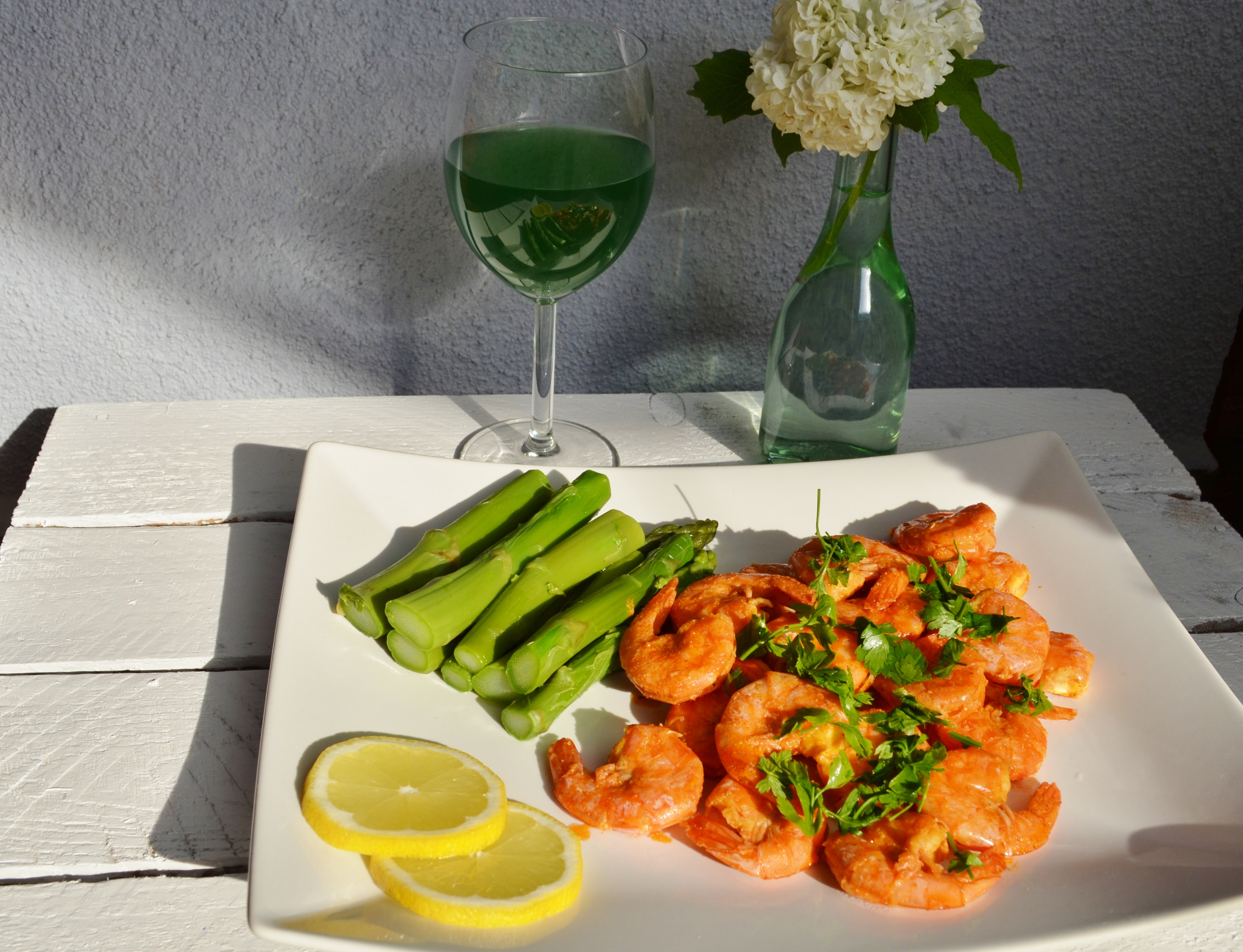 King prawns and green asparagus!
